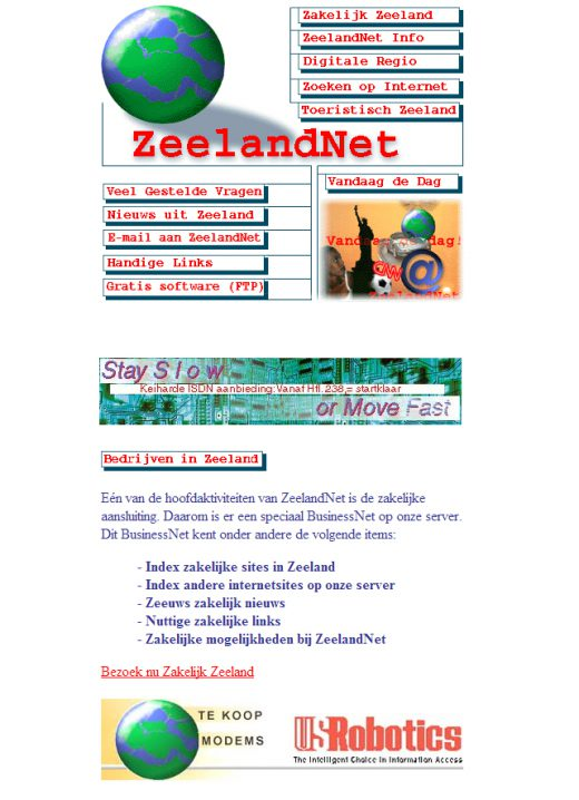 De Zeelandnet website in 1996