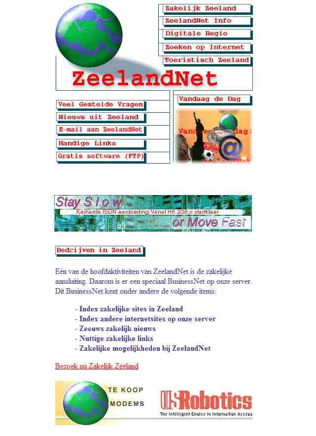 De Zeelandnet website in 1996